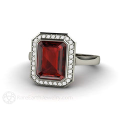 Emerald Cut Garnet Ring with a Bezel Diamond Halo Rare Earth Jewelry