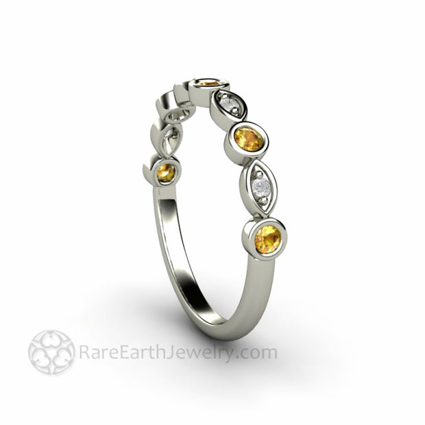 Genuine Yellow Sapphire Wedding Band with Diamonds 14K White Gold Bezel Setting - Rare Earth Jewelry