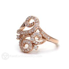 Rare Earth Jewelry Antique Style Diamond Ring with Hand Engraved Milgrain Detailing 14K Gold