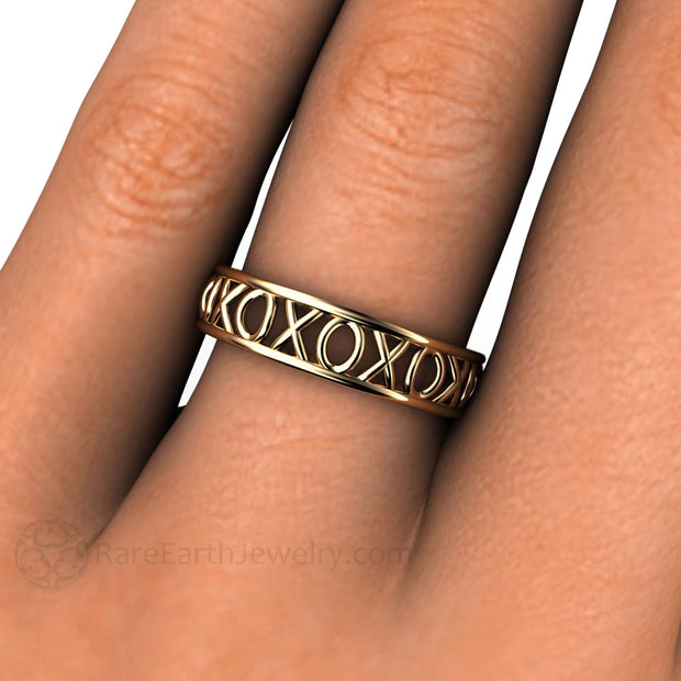 Rare Earth Jewelry Rose Gold Right Hand Stacking Band on Finger 14K