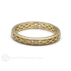 14K Bridal Wedding Band Antique Style Rare Earth Jewelr