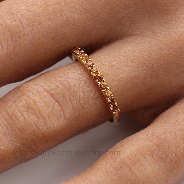 Golden Yellow Citrine Birthstone Band with 2mm Round Natural Citrine Gemstones Stackable Ring on the Finger