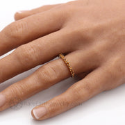 November Birthstone Ring with Natural Yellow Citrine Hand Photo Stacking Ring Anniversary Band