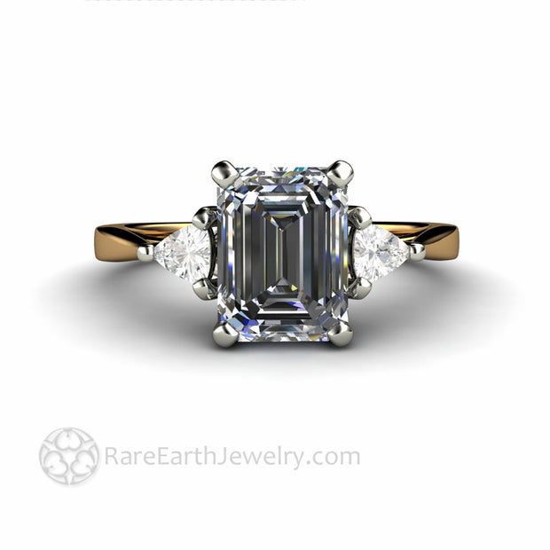 Gray Moissanite 3 Stone Ring Affordable Engagement Rings
