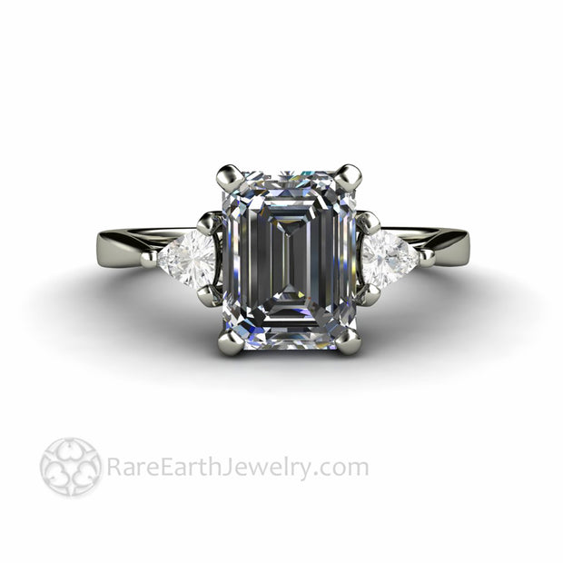 Gray Moissanite Ring Three Stone Setting Emerald Cut with Trillions Custom Made Eco Friendly Engagement Rings