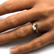 Green Quartz Ring on the Finger