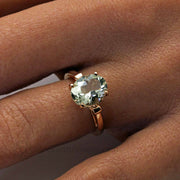 Green Amethyst Rose Gold Ring Hand Shot