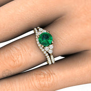 Green Emerald Bridal Set Diamond Accented Wedding Band Engagement Ring on Finger Rare Earth Jewelry