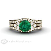 Green Emerald Bridal Set Trio Style Two Pave Diamond Wedding Rings 1 Carat Round Cut Engagement Rare Earth Jewelry