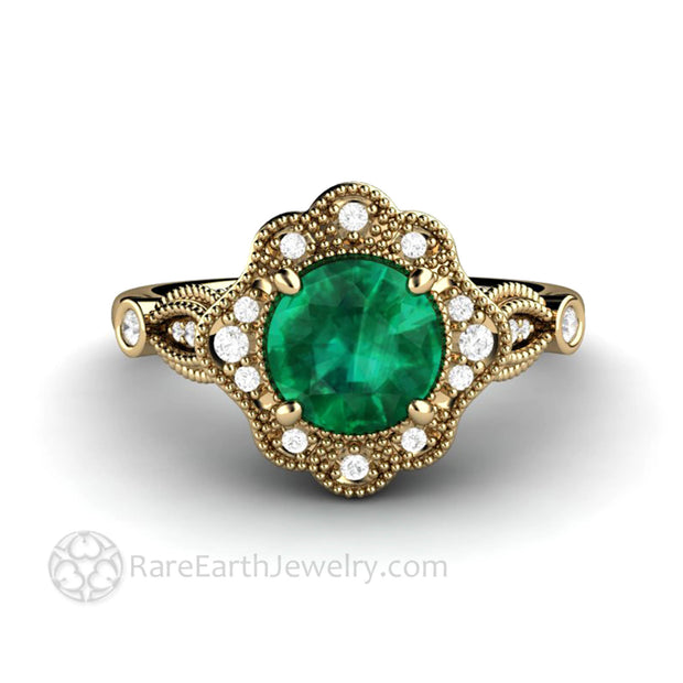 Green Emerald Ring in Yellow Gold Scalloped Diamond Halo filigree scroll