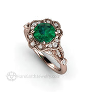 Green Emerald Rose Gold Ring Unique vintage Style Engagement Ring