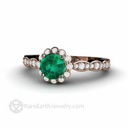 Green Emerald Rose Gold Ring with Diamond Halo Vintage Inspired Design Inexpensive Engagement Handmade by Rare Earth Jewelry