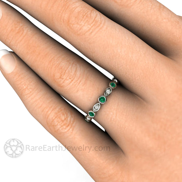 Green Emerald Wedding Ring on Finger White Gold with Diamonds Rare Earth Jewelry