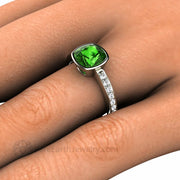 Green Tourmaline Ring on the finger Cushion Cut on the hand Unique Custom Rings by Rare Earth Jewelry