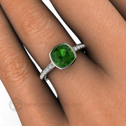Green Tourmaline and Diamond Ring Minimalist Style on the hand custom made by Rare Earth Jewelry
