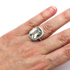 Rare Earth Jewelry Green Cushion Amethyst Diamond Halo Ring on Finger