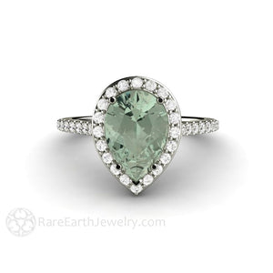 Rare Earth Jewelry Green Amethyst Engagement Ring Pear Shaped