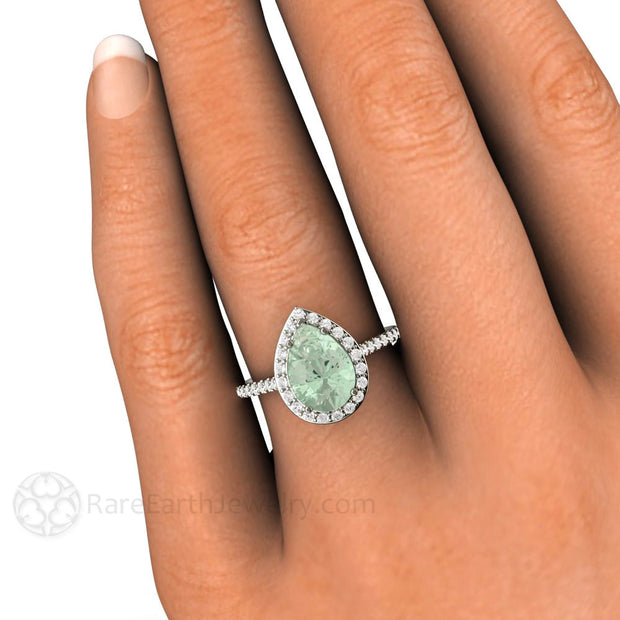 Pear Shaped Green Amethyst Halo Right Hand Ring on Finger Rare Earth Jewelry