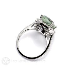 Rare Earth Jewelry 6.5ct Large Cushion Green Amethyst with Diamond Halo Ring 14K or 18K Gold