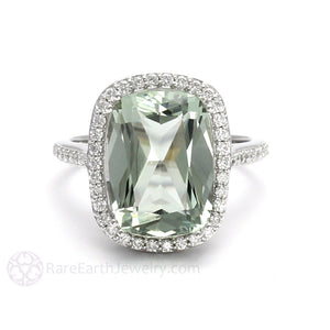 Rare Earth Jewelry Cushion Cut Green Amethyst Ring Diamond Accented Halo 14K