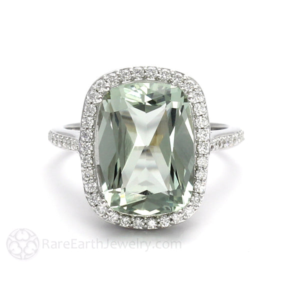 Cushion Cut Green Amethyst Engagement Ring Diamond Halo