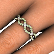 Pastel Green Diamond Ring on Hand Rare Earth Jewelry