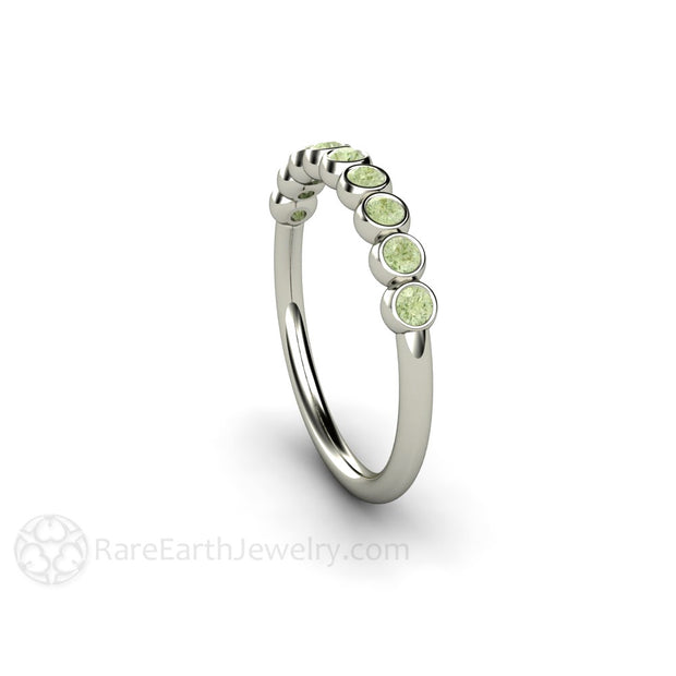 Bezel Set Round Cut Light Green Diamond Ring Stackable Band Rare Earth Jewelry
