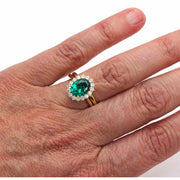 Rare Earth Jewelry Oval Cut Emerald Wedding Set on Finger Diamond Accent Stones