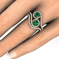 Rare Earth Jewelry Emerald 2 Stone Emerald Halo Wedding Set on Finger