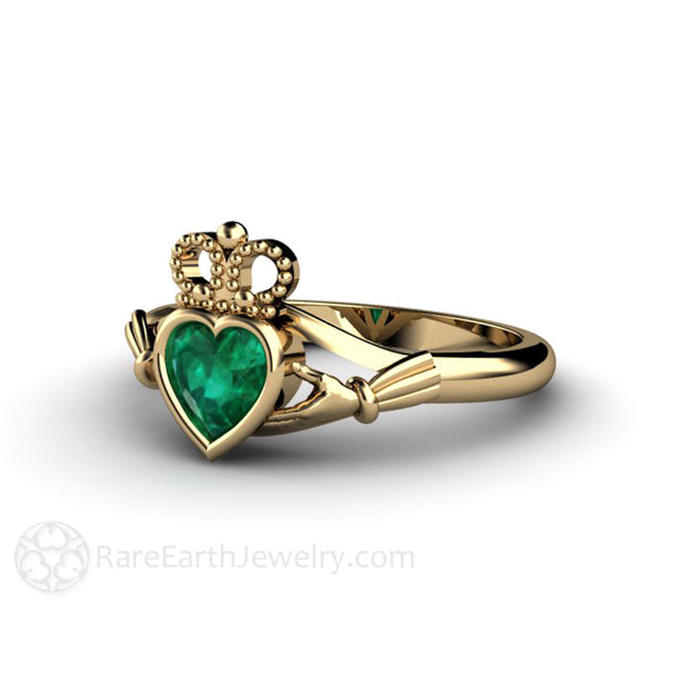 14K Green Emerald Claddagh Wedding Ring Irish Engagement Rare Earth Jewelry