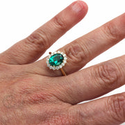 Rare Earth Jewelry Green Emerald Right Hand Ring on Finger Oval Cut with Diamonds