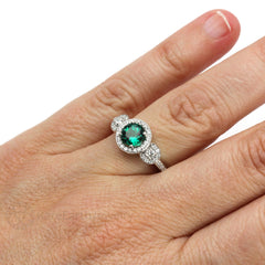 Rare Earth Jewelry Emerald Halo 3 Stone Ring on Finger May Birthstone