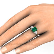 8x6mm Emerald Cut Green Emerald Ring with Trillions on the Hand by Rare Earth Jewelry