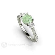 Rare Earth Jewelry Moissanite Engagement Ring Round Cut Pastel Green Moissanite with Diamonds 18K Gold
