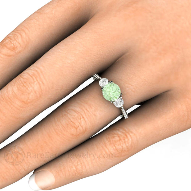 Light Green Moissanite Ring on Finger Rare Earth Jewelry