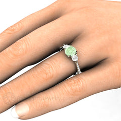 Rare Earth Jewelry Green Moissanite 3 Stone Ring on Hand