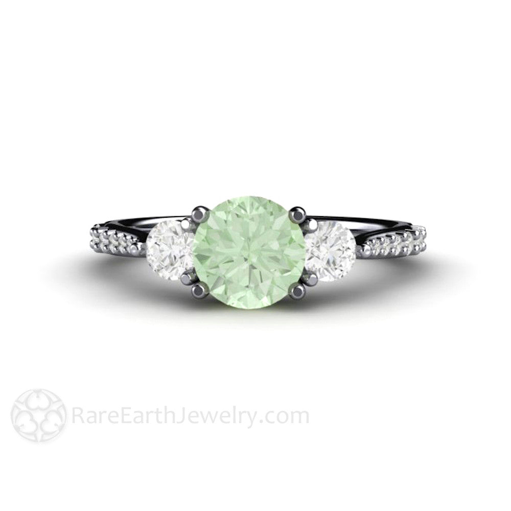 emerald jewelry cut triple wg white row cushion engagement with ring side stone diamond in gold rings nl green
