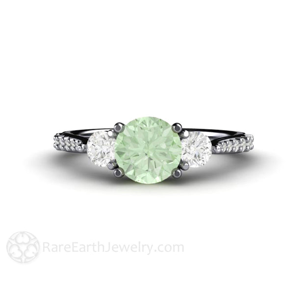 Platinum Green Moissanite 3 Stone Wedding Anniversary Ring Rare Earth Jewelry