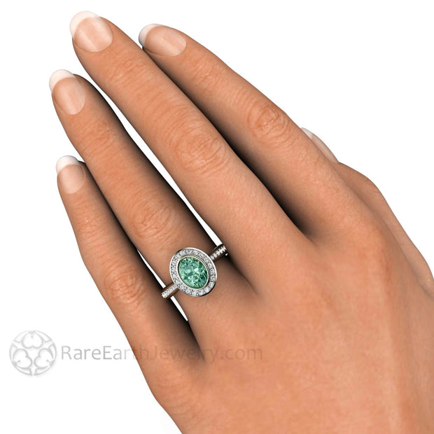 Green Sapphire Diamond Halo Bezel Ring on Finger Rare Earth Jewelry