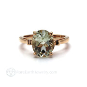 Oval Green Amethyst Engagement Ring