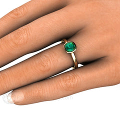 Green Cushion Cut Tourmaline Bezel Solitaire Ring on Finger Rare Earth Jewelry