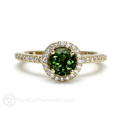 Rare Earth Jewelry Green Tourmaline Ring Diamond Halo Round Cut 14K Gold