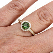 Rare Earth Jewelry Green Tourmaline Right Hand Ring on Finger Round Cut Natural Gemstone