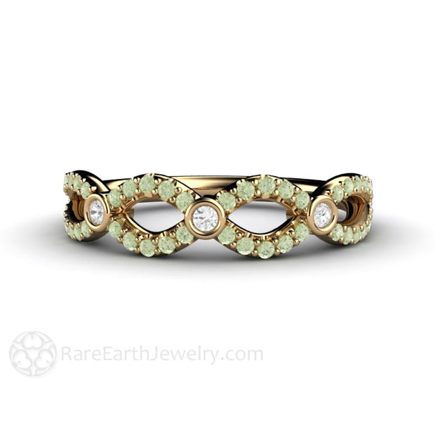 April Birthstone Ring Green Diamond Infinity Rare Earth Jewelry