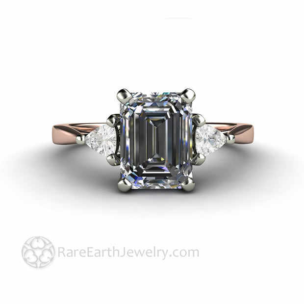 Emerald Cut Gray Moissanite Engagement Ring 3 Stone Design Lab Grown Diamond Alternative