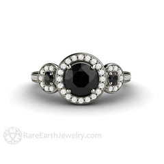 Black Diamond 3 Stone Halo Ring Platinum Setting Rare Earth Jewelry