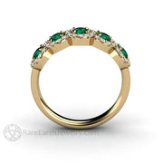 Rare Earth Jewelry May Birthstone or Anniversary Ring Emerald and Diamond Natural Gemstones 14K Gold