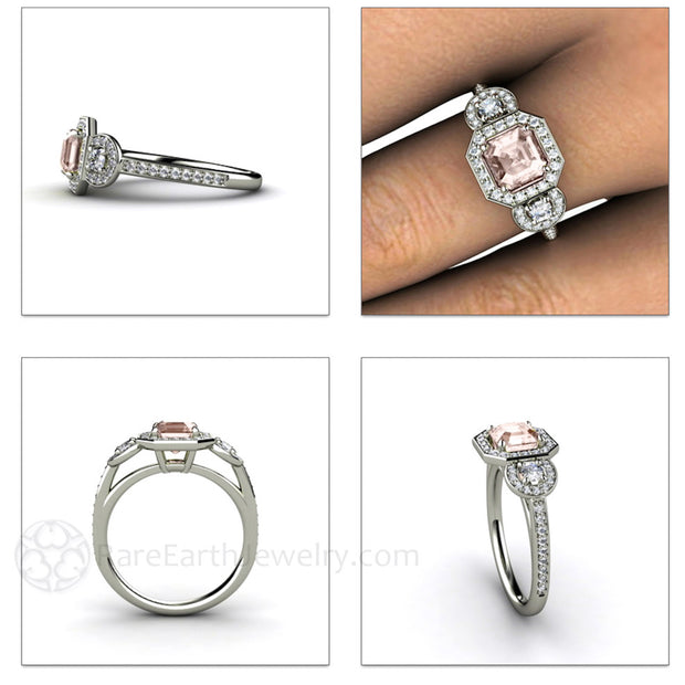 Rare Earth Jewelry Morganite Diamond Halo Anniversary Ring Asscher Halo 3 Stone White Gold