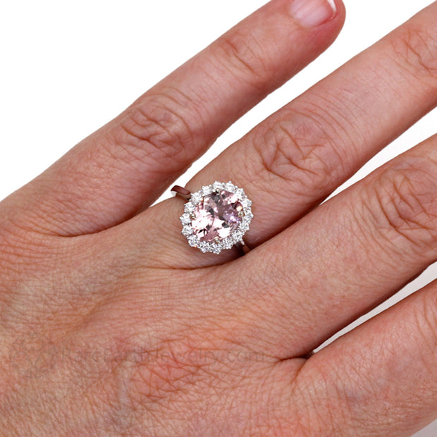 Rare Earth Jewelry Oval Cut Morganite Ring on Finger Diamond Halo