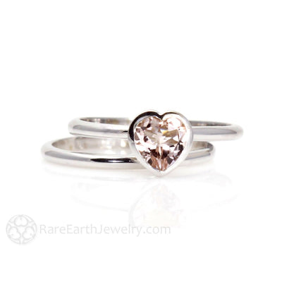 Bezel Set Morganite Engagement Ring Heart Cut Solitaire and Wedding Band